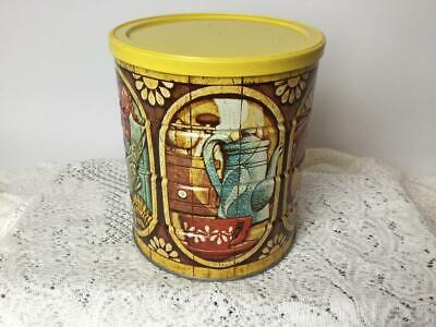 Vintage Folgers Coffee Tin Can Lobster Fruit Fish Rooster Large