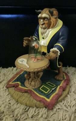 Disney Collectibles Beauty and the Beast Beast Statue with Enchanted Rose RARE!