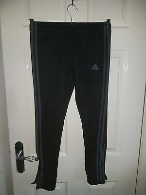 Adidas Climalite Boys Black Tracksuit Bottoms Age 11-12 Years  Grey Trim.