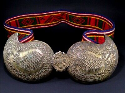 MAGNIFICENT ANTIQUE BALKANS HAND MADE WOOL BELT w/ HUGE SILVER BUCKLE CLASP SEТ
