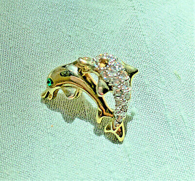 Leaping Figural Dolphins Lapel Pin Gold Plated Pave Crystals Green Eye Collar