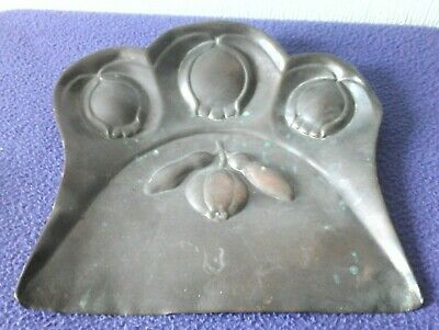 Joseph Sankey Art nouveau stylized flowers copper crumb tray amazing patination