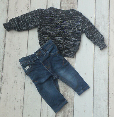 FAB Baby Boy Jumper and Jeans Outfit - River Island & Primark (0 - 3 months)