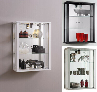 Glass Display Cabinet Wall Mounted Vitrine Toys Vapes Various Colours and Light