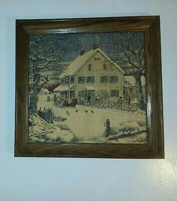 "Very Vintage Kay Dee Print Linen Framed Farmhouse Signed "" WB"" 15 3/4"" L  16""W"