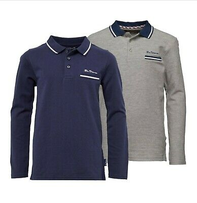 Boys Ben Sherman Cotton Casual Long Sleeve Pique Polo Sizes Age from 3 to 15 Yrs