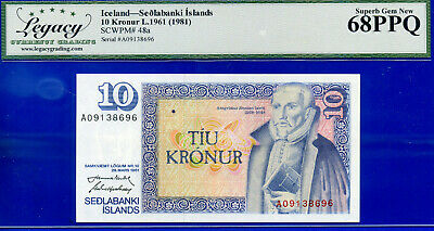 Iceland - L.1961 Sedlabanki Islands -10 Kronur -SCWPM# 48a - Superb-Gem  #138696