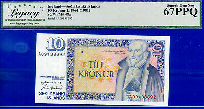 Iceland - L.1961 Sedlabanki Islands -10 Kronur -SCWPM# 48a - Superb-Gem  #138692