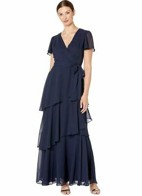 Tahari ASL Dress Flutter Sleeve Tiered Maxi Women Navy Blue Sz 4 NEW NWT 472