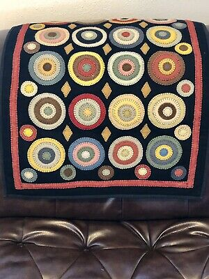 "PENNY FLOWERS / Folk Art tapestry / Large wool mat/wall-hanging / 36"" x 24"""