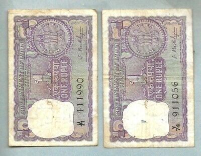 INDIA 1 RUPEE TWO NOTES (Both 1966) Circulated  E-48
