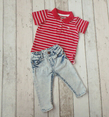 FAB Baby Boy Striped T-Shirt & Jeans Outfit - River Island & H&M (6 - 9 months)