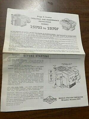 Briggs & Stratton Operating & Maintenance Inst. for Models 251702 to 251707