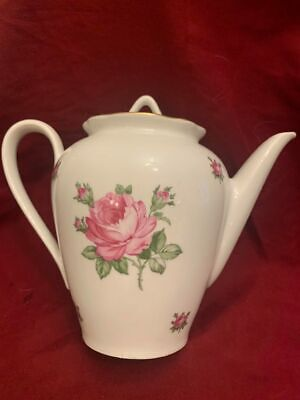 6oz Cups White German Porcelain Teapot White with 2 Large Pink Roses and Random Small Roses Hold 4