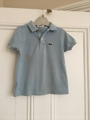 Boys Light Blue Short Sleeved Lacoste Polo T Shirt Age 4 Years