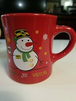 NEW Waffle House 2014 Restaurant Diner Style Red Coffee Mug Christmas  w/Snowman