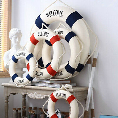 Welcome Aboard Nautical Life Ring Lifebuoy Boat Wall Hanging Home Decor SK