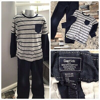 Boys Gap Jeans Navy Blue & Long Sleeved Casual Top Clothes Bundle/ Outfit Age 8