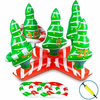 Christmas Game Ring Toss Game Xmas Inflatable Tree Holiday Toys for Kids Adults