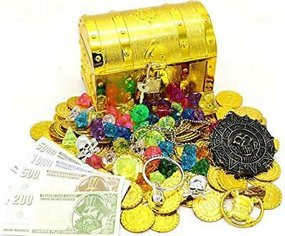 Plastic Gold Pirate Treasure Chest with Lock For Kids Storage Party Favors Props