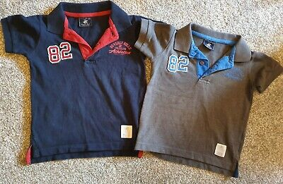 2 x Beverley Hills Polo Club Boys Polo Shirt Dark Grey and navy Age 3-4