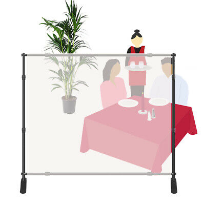 Floor Standing Sneeze Guard Clear Film 4 ¼'x5' Banner Stand Protective Barrier