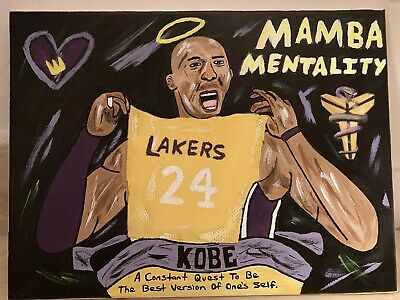 9x12 Black Light Los Angeles Lakers Kobe Bryant Black Mamba Acrylic Art Painting