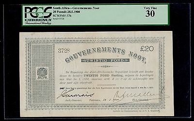 SOUTH AFRICA  20 POUNDS 1900  GOVERNMENT NOTES  PICK #  57b  PCGS 30 VERY FINE.