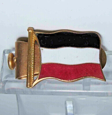 """Vintage enamel flag badge the """"WEDGE"""" patent  black white and red"""