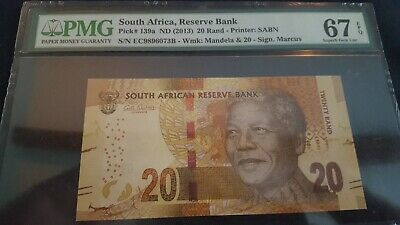 2013 South Africa 20 Rand- PMG Certified Note  Pick# 139a  67 Superb Gem Unc