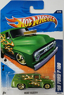 2011 Hot Wheels 56 FORD F-100 truck heat fleet 3 of 10 #93 GREEN with flames