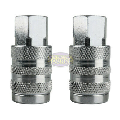 """2 Industrial Style Steel 1/4"""" FNPT Air Compressor Quick Couplers 6 Ball Bearing"""