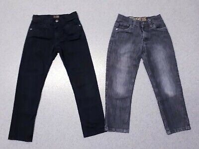 2 X Boys 7 - 8 Years Jeans Denim Trousers Black Grey Straight Leg Slim Bottoms