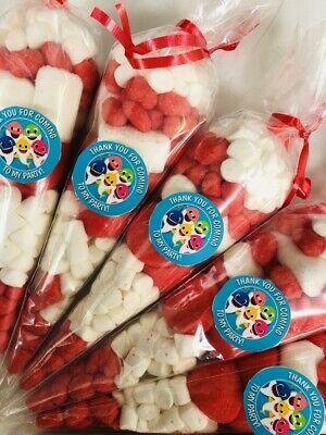 Baby Shark Thank You For Coming Party Sweet Candy Cones Sweets Cone Red