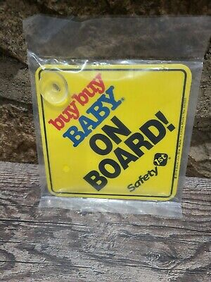 "Buy Buy Baby Yellow ""BABY ON BOARD"" 5"" x 5"" CAR SIGN Safety First NEW SEALED"