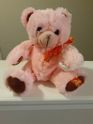 "Reese's Plush Teddy Bear Pink Soft Stuffed Animal 6.5"" Tall Galerie"