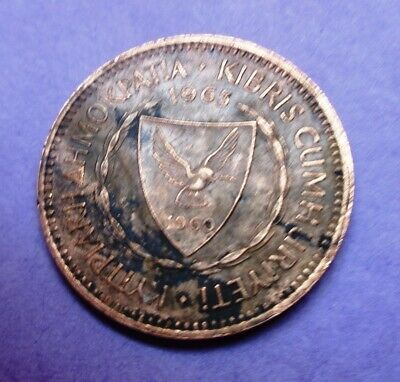 CYPRUS 1963 5 Mils Ancient merchant sailing ship  25.5mm- Foreign Coin F-23