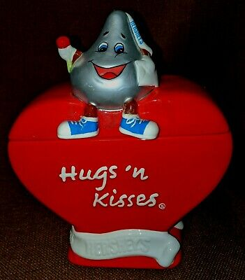 Hershey's Hugs 'N Kisses Heart Shape Red Ceramic Candy Treat Jar Canister W/Lid