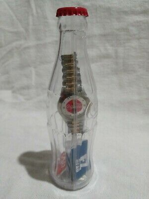 2002 Coca Cola Mens Gold and Silver Tone Wrist Watch In A Bottle