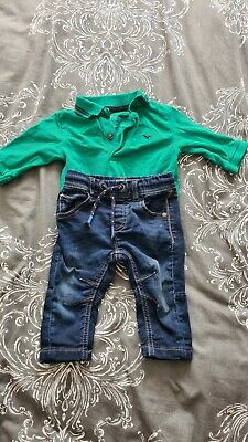 Baby boys Next bundle 3-6 months Jeans and Long sleeve polo top green