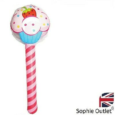 76cm INFLATABLE CUPCAKE STICK Blow UpToy Lollipop Kids Party Bag Filler Prop Lot