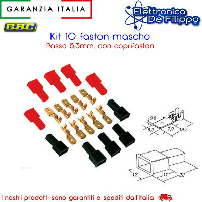 Kit 10 Faston Maschio 6,3Mm Con Coprifaston Rossi E Neri