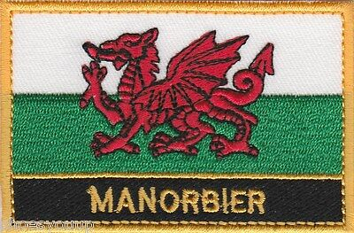 Manorbier Wales Cymru Town & City Embroidered Sew on Patch Badge