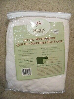 American Baby ORGANIC Cotton Waterproof Quilted Crib Mattress Pad Cover 24x38