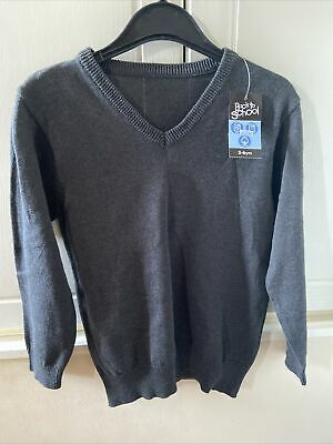 F&f Unisex Back To School Grey V Neck Jumper 5-6 Yrs Bnwt