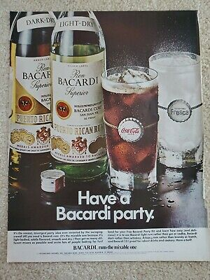 1970 Bacardi Rum Original Print Ad Vintage Have A Party The Mixable One