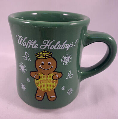 2016 Waffle House Holiday Green Coffee Mug Cup Gingerbread Worker Christmas New