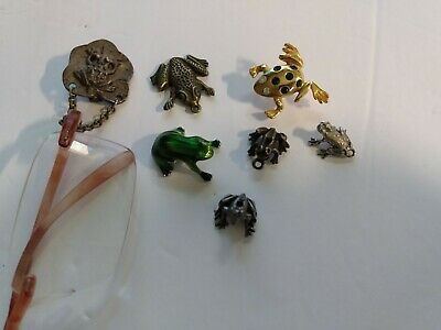 Lot of 7 metal FROG collection. Glass holder & bracelet charms & more