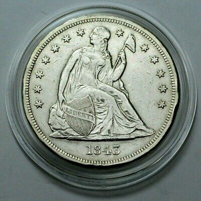 1843 Seated Liberty Silver One Dollar Key Date $1 US Coin in Capsule!