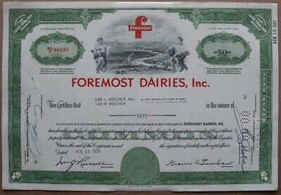 Foremost Dairies, Inc. Stock certificate 1959 - Series: 98838